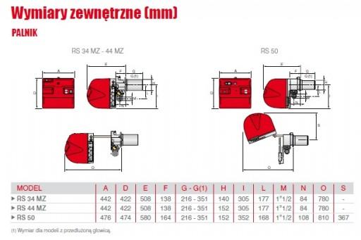 """Palnik gazowy progresywny ze ścieżką 2"""" Riello RS34 MZTC 390kW"""