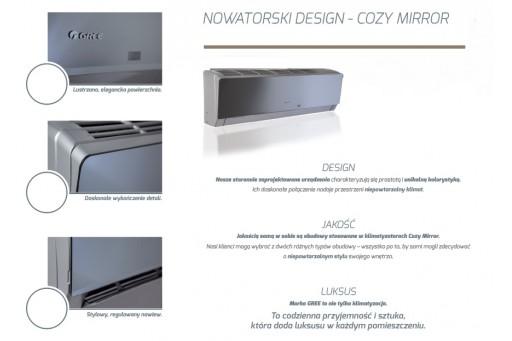 Klimatyzator ścienny Gree Cozy Mirror Inverter GWH12MB-K3 - 3,5/4,0 kW