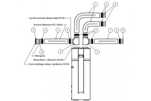 Zestaw wentylacyjny rozszerzony do powietrznej pompy ciepła Hewalex