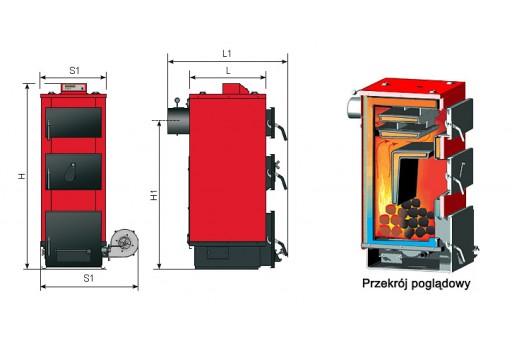 Kocioł na węgiel Rakoczy POPTER DS 45 - 45 kW