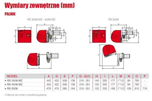 """Palnik gazowy mod. ze ścieżką 1 1/2"""" Riello RS44/M MZ TC 550kW"""