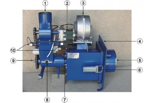 Palnik na owies Bioterm 25, pracujący w zakresie mocy od 10 do 28 kW