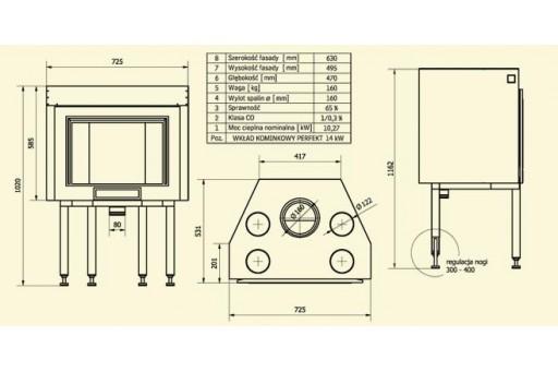 Kominek żeliwny Perfekt Elips - 14 kW