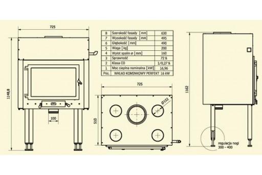 Kominek żeliwny Perfekt Clasic - 16 kW