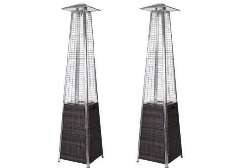 Zestaw 2 Promienników ogrodowych  wiklina Ognista Wieża - 11 kW