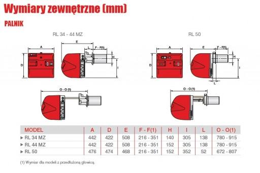 Palnik olejowy dwustopniowy na olej opałowy Riello RL 44 MZ TC 485kW