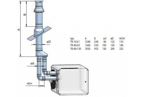Kolano systemu odprowadzania spalin nagrzewnic Winterwarm DN 130 90st