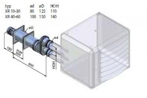 Kominek spalinowy, ścienny do nagrzewnic gazowych Winterwarm DN 130