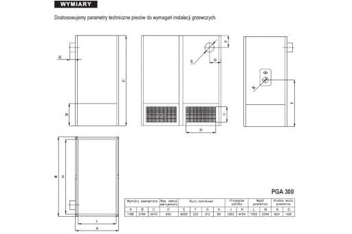 Nadmuchowy piec grzewczy bez palnika Araj PGA-300 - 348 kW