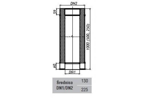 Rura prosta kominowa dwuścienna ocieplana 1 mb fi 130/225 mm